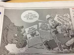 The Daily Dispatch cartoon published on  21 January criticises the National Press Club's decision to name the rhino as the newsmaker for 2012.