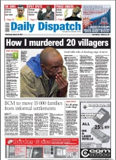 The front page of the Daily Dispatch, 28 August 2013.